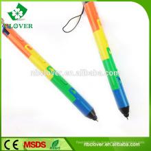 Pen формы красочные пластиковые 3 привело свет пользовательских брелок фонарик