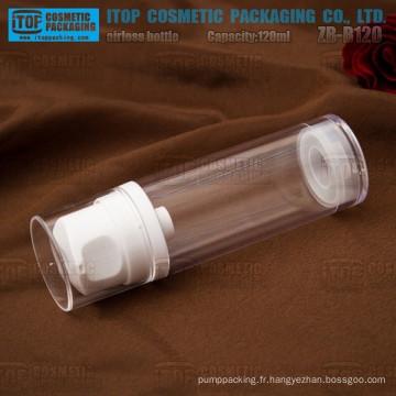 ZB-B120 120ml lotion grande pompe bonne qualité simple couche haute clair 120ml flacon airless