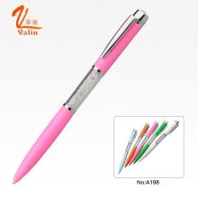 Linda cor rosa com caneta de diamante de metal para o presente de casamento