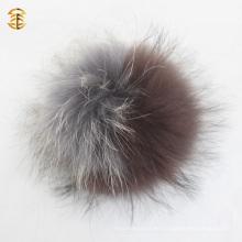 Llavero colorido de la bola de la piel Llaveros mullidos reales de la bola de la piel del mapache Pompom