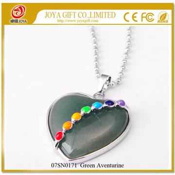 7 & Seven Chakras Gemstone Green Aventurine Heart Pendant Necklace