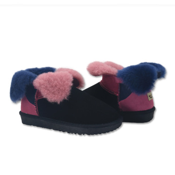 Factory directly sale for Womens Leather Winter Boots women's fuzzy warm winter leather genuine house boots supply to France Wholesale
