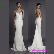 Sexy Back Design and Noble Embroidery Spaghetti Strap Mermaid Wedding Gown
