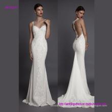 Сексуальный дизайн и благородный вышивка спагетти ремень Русалка свадебное платье