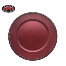 Red Festival Antique Plastic Charger Plate