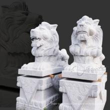 yarda arte nieve blanca jardín granito león estatuas para la venta