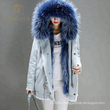 China supplier girls Short Style Jeans Women Denim Jacket With Real Raccoon Fur Collar Fox Fur Lining