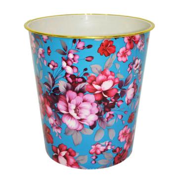Flor de plástico redonda impressa Open Top Garbage Bin (B06-2020-2)