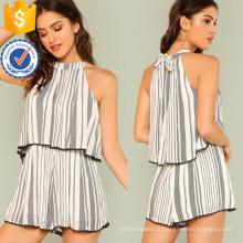 Noir et blanc Mock Neck Stripe Ruffle barboteuse OEM / ODM fabrication en gros de mode femmes vêtements (TA7014J)