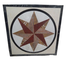 Mosaic art in waterjet marble pattern with polished surface finish