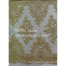 Великолепная Золотая вышивка кружева ткань сбалансированный кружева для bridal & занавес CTC178