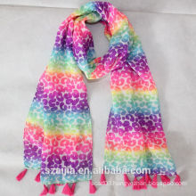 New design kids colorful printed silk scarf