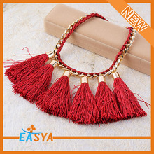 New 2015 Wholesale Jewelry Handmade Woven Tassel Necklace