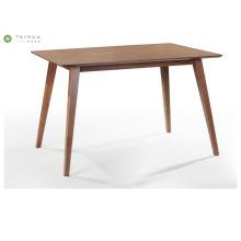 Mesa de jantar plana de madeira de nogueira escura Design simples