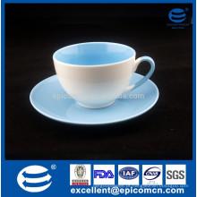 Hot vender cor dupla vitrificado em massa china pequena New Bone China chá copo de café e pires conjunto