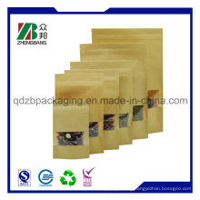 Craft Paper Coffee Bag with Clear Window