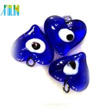 perlas de cristal del lampwork de la forma del corazón del ojo malvado turco azul claro