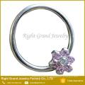 Prong Set Flower Synthetic Fire Opal Best Friend Nipple Ring