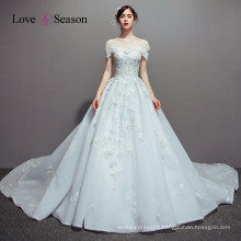 OBW8609 sky blue latest evening gowns long train images evening dress wedding blouses