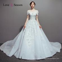 OBW8609 azul céu mais recentes vestidos de noite imagens de trem longo vestido de noite blusas de casamento
