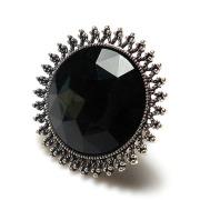 Top strass de imitação de diamante qualidade grande faceta negra incrustada placa de prata antigo metal sol flor anéis de estiramento elástico anel
