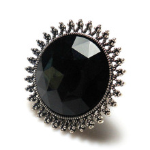 Top Quality big black facet imitation diamond rhinestone inlaid antique silver plate metal sun flower Stretch Rings elastic ring