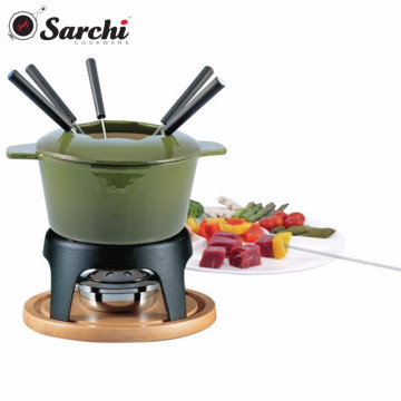 Enameled cast iron Chocolate Fondue Set with wooden tray