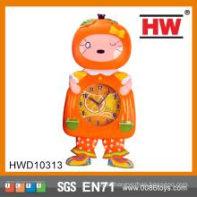 Orange Plastic Cartoon Kids Wall Clock