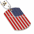 New Product Fashion American Flag dog Tag Statement Choker Bead Necklace For Men