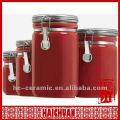 Cerâmica, vermelho, chá, café, açúcar, cânister, cozinha, invólucro