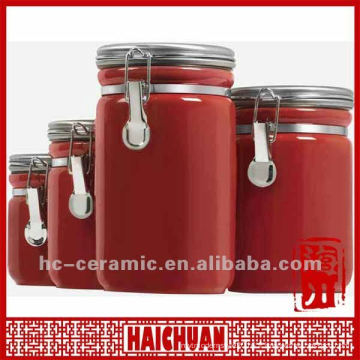 Boite à thé en céramique au thé rouge, boîte à cuisine