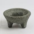 Mortero y maja de granito de piedra natural con gran tamaño 20x9cm