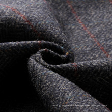 England vintage style 100% wool tweed fabric navy herringbone with red overcheck