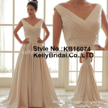 2017 latest elegant v neck stain plain style bridal gown
