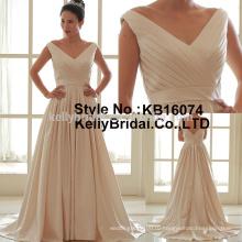 2017 последний элегантный V шеи пятно простой стиль свадебное платье