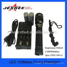 JEXREE xml-t6 torche torche rechargeable led lampe de plongée 3 * cree imperméable à la pluie coon chasse lumière