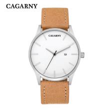 6850 mode montre bracelet à quartz date de mouvement fenêtre bracelet en cuir
