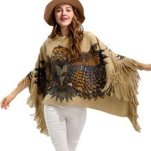 Джемпер женский обертывания зимний вязаный Орел печать шали свитер пончо (SP619)