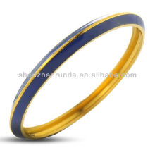 Acier inoxydable plaqué or bleu doux en émail Bracelet Bracelet Visse