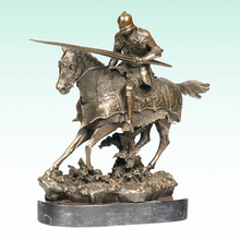 Chevalier antique Sculpture en bronze Soldat Statue en métal Tpy-455