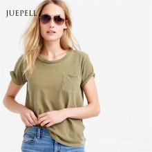 T-shirt de coton de poche de femmes