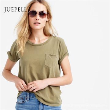 Mulheres de algodão de bolso camiseta