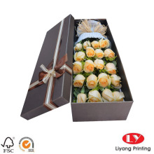 Custom Flower Box Cardboard with Lid and Bow