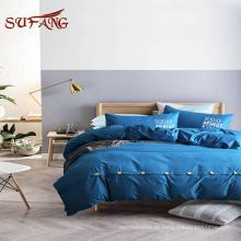 Roupa de cama do hotel / Cutomized hot printing 300TC conjunto de folha de cama de bambu com folha superior