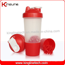 500ml Plastic Protein Shaker Bottle with 1 Compartment and Plastic Mixer Ball (KL-7024)