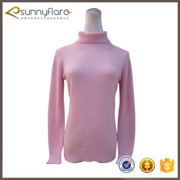 La última moda de las mujeres del jersey de cachemira puro con cuello redondo
