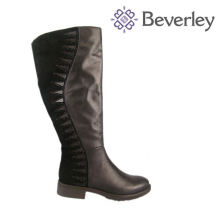 100% воловья кожа черные овцы мех linging женщин зимняя обувь большой размер ботинок женщин