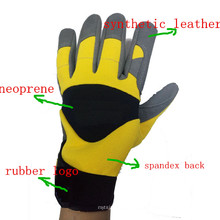 Heavy Duty Leather Synthetic Palm Safety Rigger Guantes con logotipo de goma