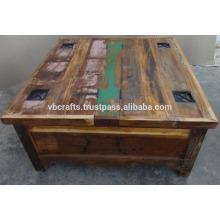 Mesa de café de madera recuperada con caja de almacenamiento