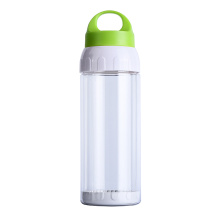 Double wall 500ml clear glass bottle with handle lid, BPA free water bottle glass